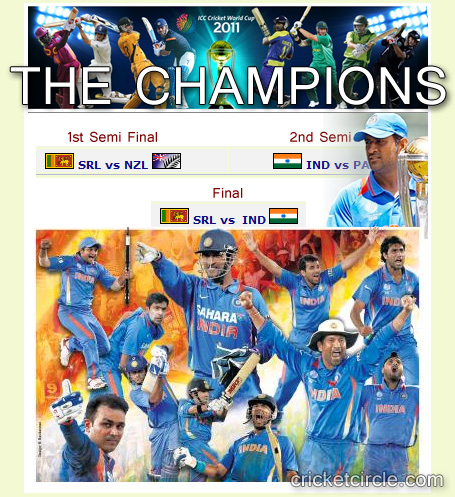 cricket world cup 2011 champions pictures. ICC Cricket World Cup 2011